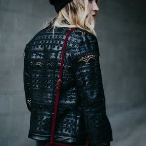 Willow & Clay Black Faux Leather Eyelet Jacket S